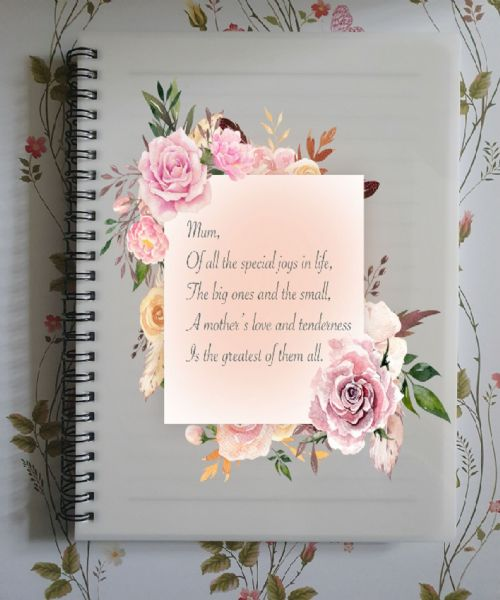Mum Special Joys Quote  A5 Lined Notepad